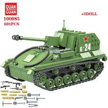 601Pcs Military Soviet Union SU 76M Tank Building Blocks military tank in blocks Army Soldier Weapon Bricks Kits Education Toys