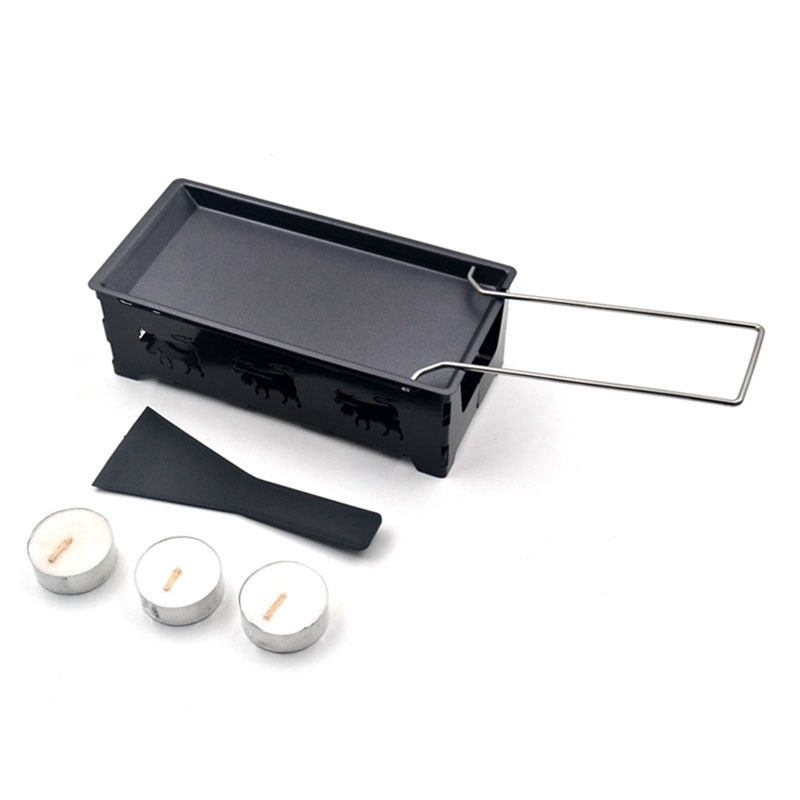 Fashion-Non-Stick Raclette Grill Set, Mini Cheese Melting Pan with Foldable Wooden Handle, Cheese Spatula, Heated By Candlelight image
