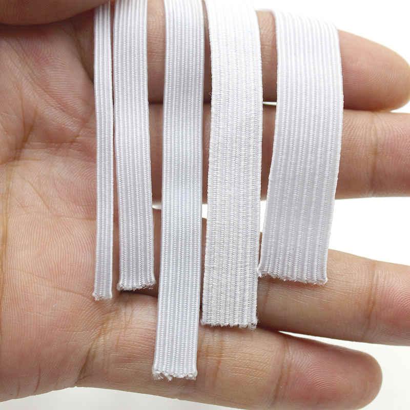 Blanco negro 5/10 metros banda elástica costura 3/6/8/10/12mm cuerda elástica manualidades de costura DIY máscara cubrecama puño 5z
