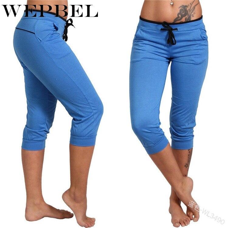 WEPBEL Women Capris Sports Knee Length Elastic Waist Trousers Drawstring Sweatpants Spring Summer Mid Waist Sexy Leggings Pants
