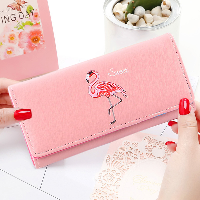 Cartoon Flamingos Ladies Purses Wallet Women Leather Cute Women Wallets Female Purse Card Holder Clutch Bags Handbag Wallet