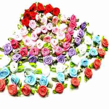 HL 50 sztuk Mini sztuczne kwiaty głowy zrobić satynowe wstążki róże Handmade DIY rzemiosło do dekoracji ślubnych aplikacje tanie i dobre opinie A001 red pink blue white purple watermelon rose red 50pcs package wedding decoration DIY appliques
