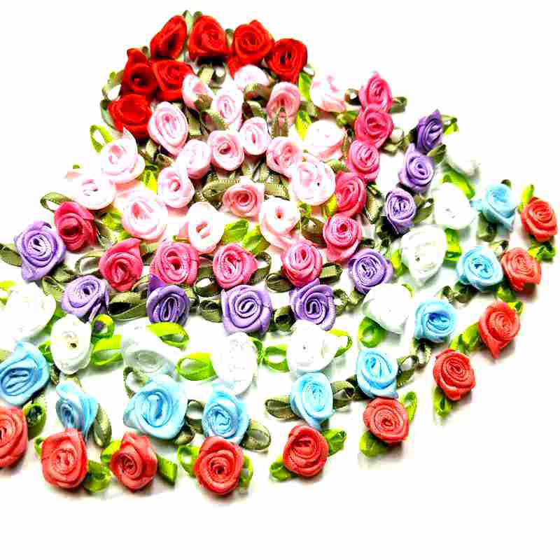 HL 50PCS Mini Artificial Flowers Heads Make Satin Ribbon Roses Handmade DIY Crafts For Wedding Decoration Appliques(China)
