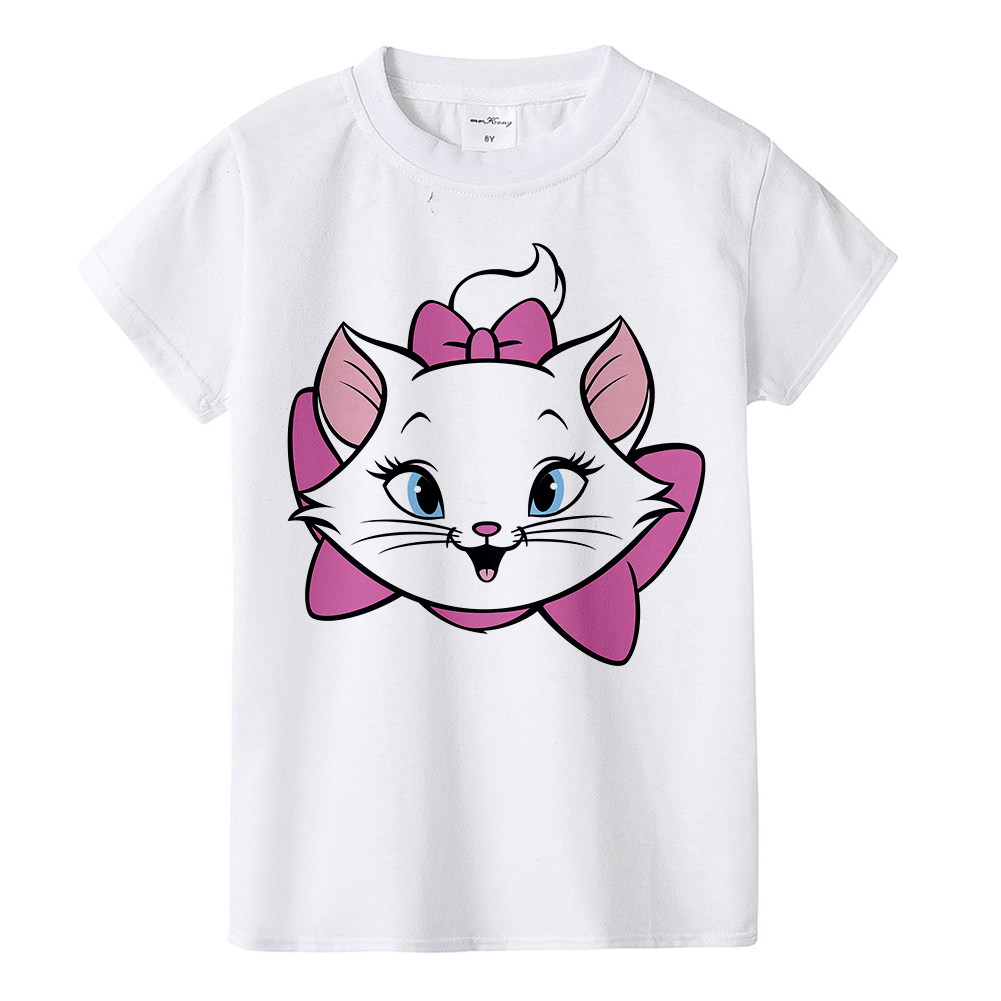 Beautiful Girl T-shirt Marie Cat Cartoon Print Summer T-shirt Children Cute Pink Pattern T-shirt Round Neck Cartoon Shirt,BAL549