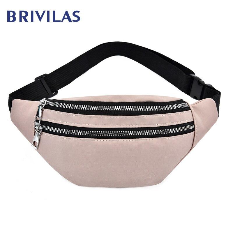 Brivilas pink fanny pack women fashion run sport waist bag waterproof phone storage purse holographic belt bag banana street new