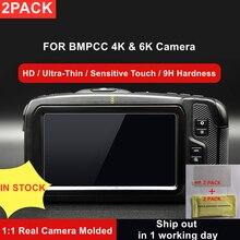2pcs bmpcc 4k/6k câmera 9h protetor de tela lcd de vidro temperado para blackmagic design pocket cinema câmera 4k