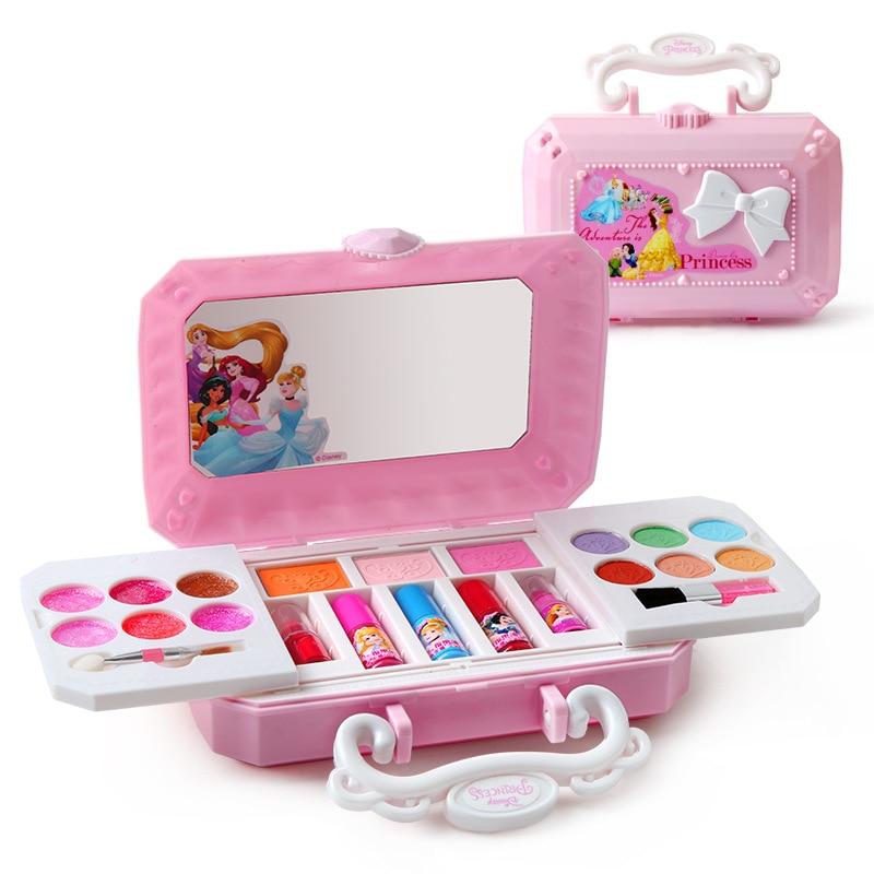 Disney Frozen Princess Frozen Elsa Beauty Mini Box Make Up Toys Washable Real Children's Makeup Set Girls Toys