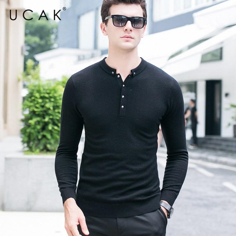 UCAK Brand Merino Wool Sweater Men Autumn Winter Cashmere Sweaters Streetwear Button Small Collar Pull Homme Pullover Men U3027