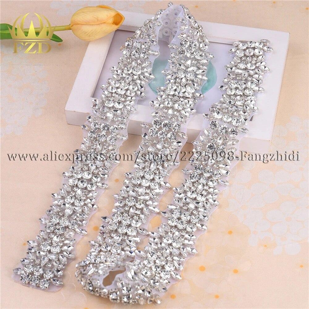 Rhinestone Trim Crystal Bridal Dress Applique Beaded Motif Wedding Costume Chain