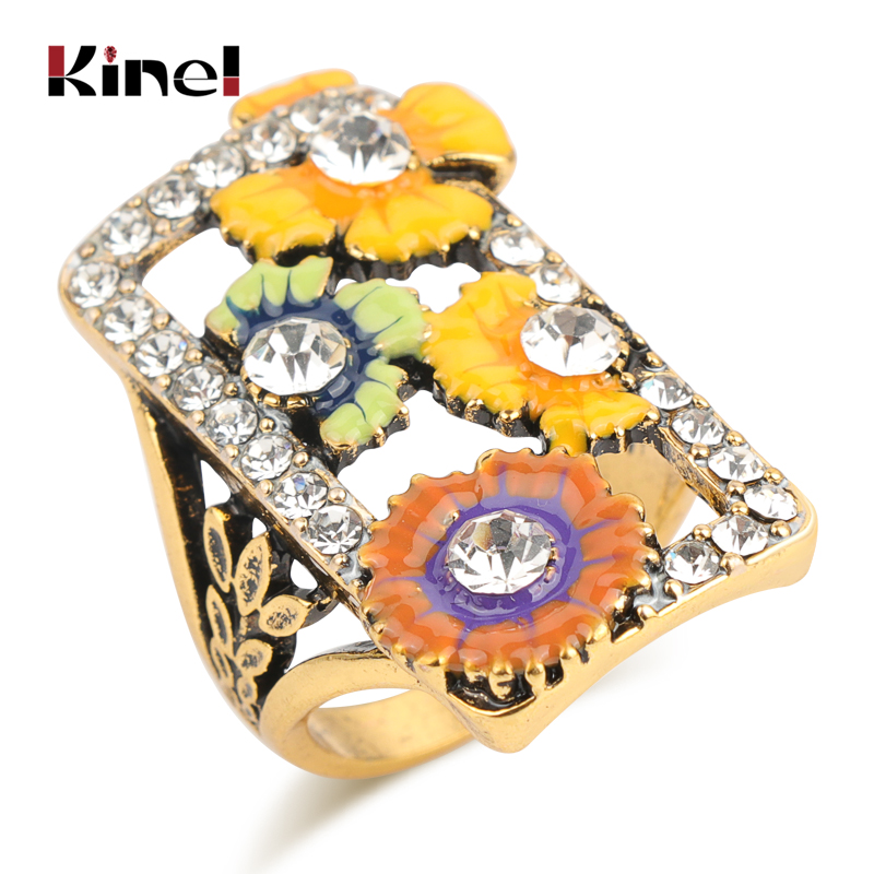 Kinel Hot Colorful Enamel Flower Ring Antique Gold Color Mosaic White Crystal Vintage Wedding Rings For Women Fashion 2019 in Rings from Jewelry Accessories