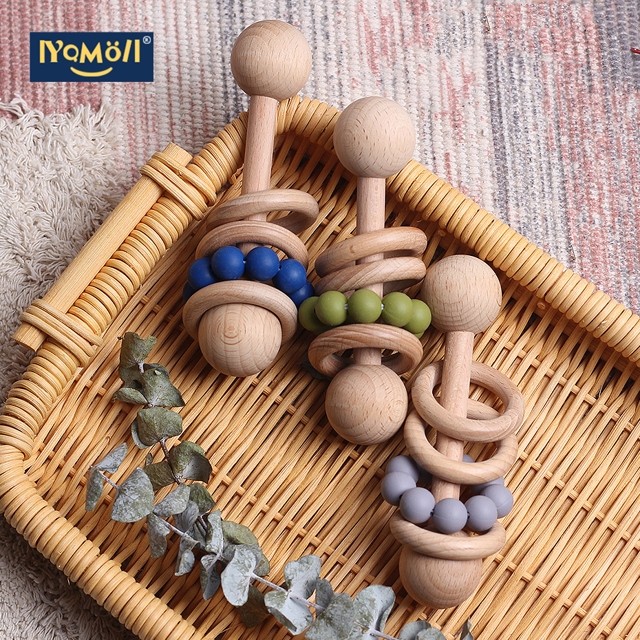 Beech Rattle Bracelet With Tooth Baby Toys Baby Rattle Can Chew Beads To Play With Gym Montessori Baby Carriage Toys