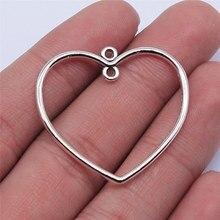 WYSIWYG 10 Uds 32x35mm Color de plata antiguo corazón hueco abalorios conectores colgante para fabricación de joyería DIY resultados de la joyería