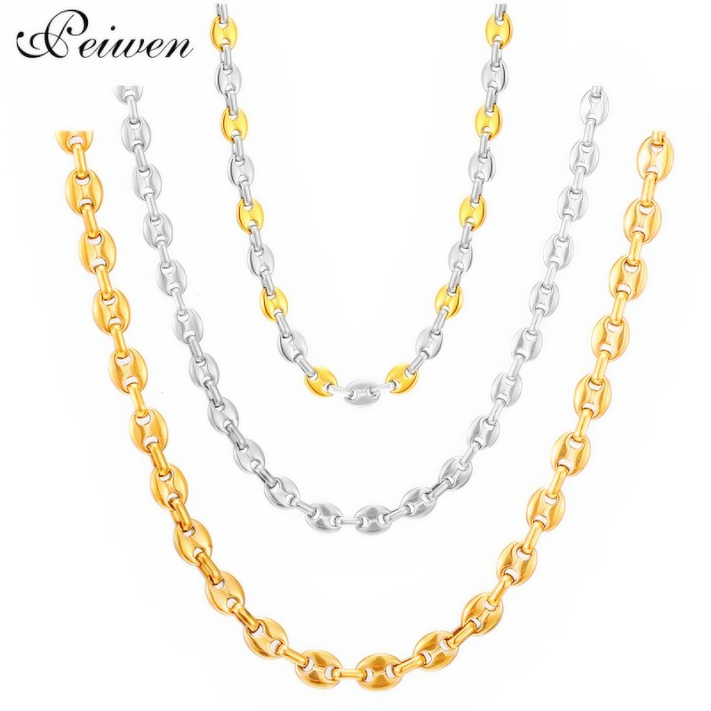 Coffee Beans Link Chain Necklace For Men Women Stainless Steel Necklaces Rope Charm Chain Chocker Hip Hop Men Jewelry 6/9/11mm