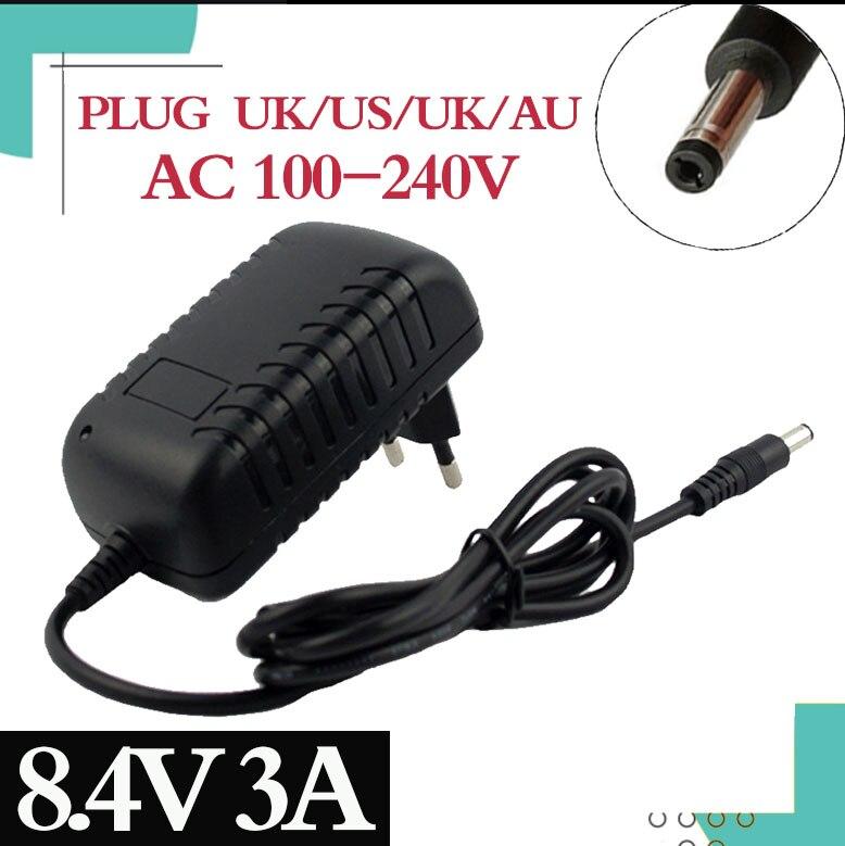 8.4v 3a 5.5*2.1mm ac dc fonte de alimentação adaptador carregador para 7.2v 7.4v 8.4v 18650 li-ion li-po bateria frete grátis