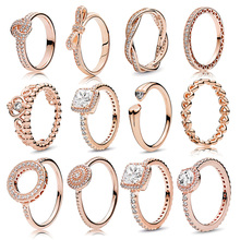 Boosbiy New Fashion Brand Rings For Women Rose Gold Love Heart knot Circle Crystal Finger Ring Wedding Jewelry Gift