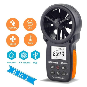 BTMETER 866A Digital Anemometer CFM Meter Air Flow Meter Measure Wind Temperature/Speed Wind chill CFM with USB tenmars tm 401 handheld digital multifunctional anemometer air velocity meter