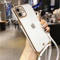 Correa de cordón galvanizado para iPhone, funda de silicona suave transparente para teléfono iPhone 13 12 11 Pro Max XS XR 8 7Plus Mini SE X