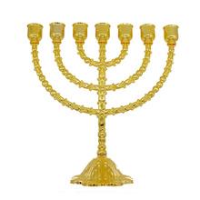 Świeca kryształowa duża menora świeczniki mosiężne złote uchwyty 7 rozgałęzione religijne tanie tanio Religijne działań 1111 Dopasowanie kij świeca Uchwyt wotywne Klasyczny Metal Stop Jewish Menorah Candelabra