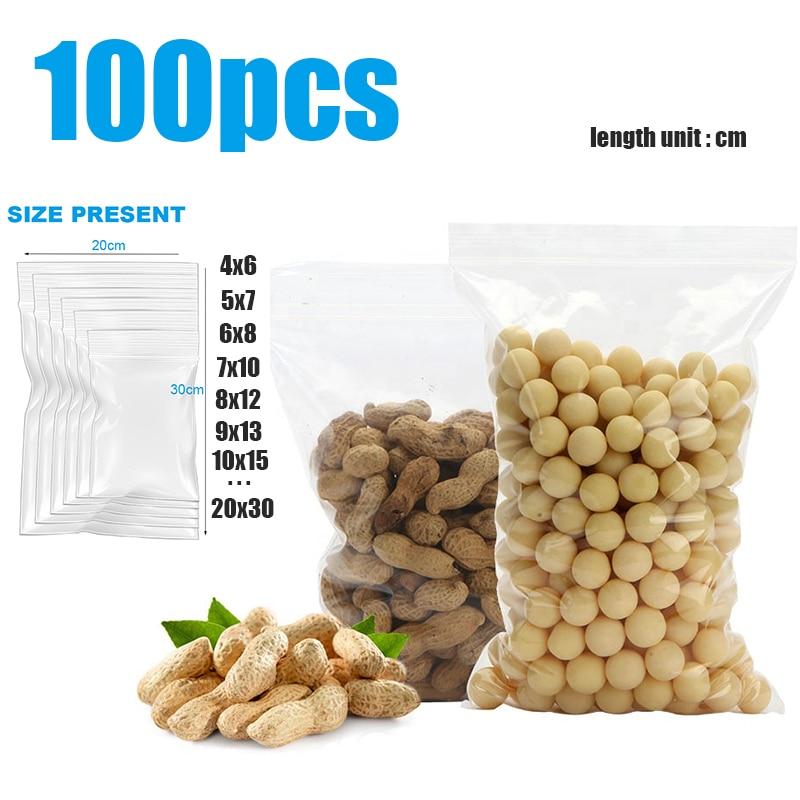 100 pces pequenos zip lock sacos de plástico reclosable transparente jóias/saco de armazenamento de alimentos cozinha pacote saco claro ziplock saco
