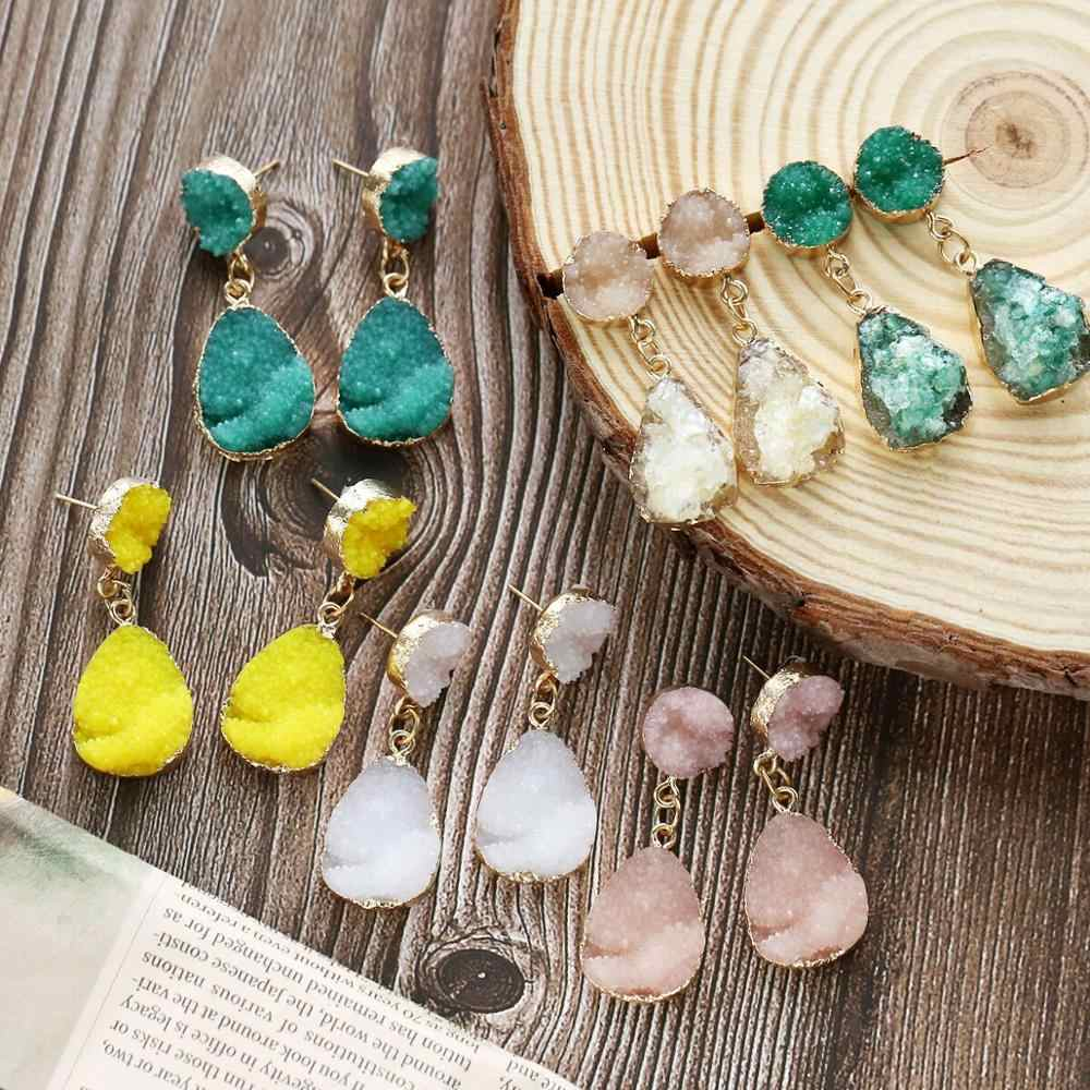17KM Bohemian Colorful Druzy Pendant Earings For Women Round Resin Stone Charms Quartz Crystal Drop Earring Fashion Jewelry Gift
