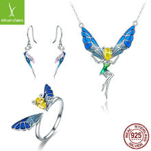 Yiziy S925 Fine Silver Cute Fairy Necklace Ring Earrings Three-piece Set Set Accessories(China)