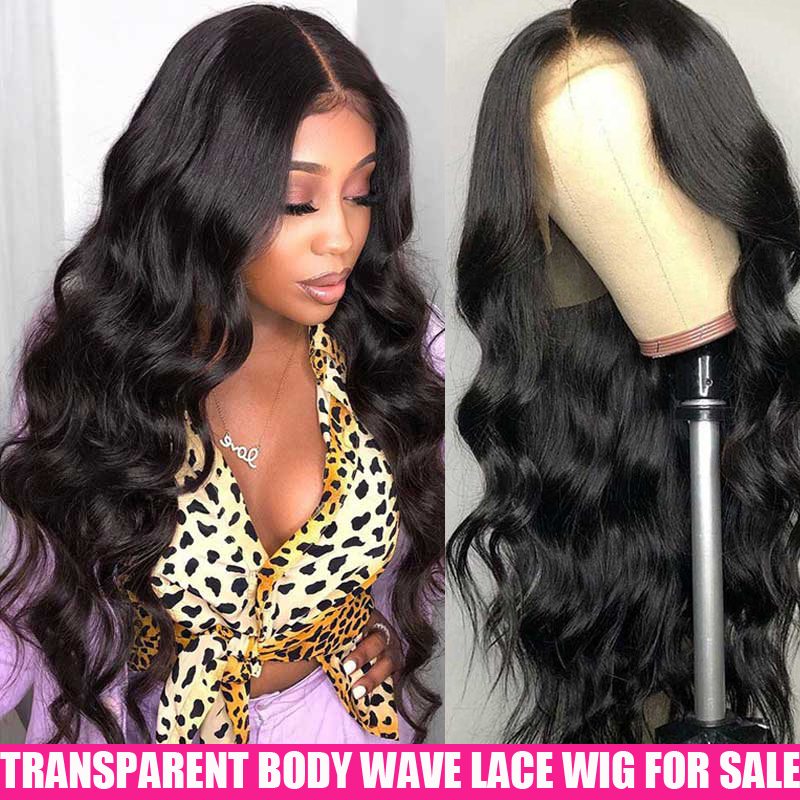 13x4 HD Transparent Lace Frontal Wigs 150 180 200 Density Brazilian Body Wave Wig  Remy Invisible Lace Front Human Hair Wigs