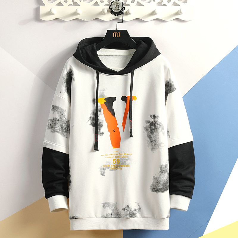Fashion Mens Patchwork  Hoodies 2019 Autumn Loose Male Hooded Sweatshirts Men's Print Streetwear Sweatshirt Tops