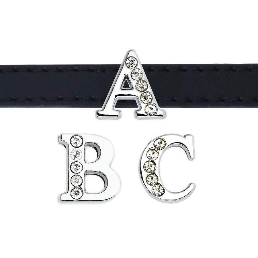 1pc A-Z 8mm clear half strass Slide Letters Passen DIY Armband & Armband & Huisdier Kraag Sieraden Maken
