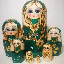 7Pcs/Set Braided Hair Girl Wooden Russian Nesting Dolls Matryoshka Toy Kids Boys Girls Christmas New Year Gift Handmade Crafts