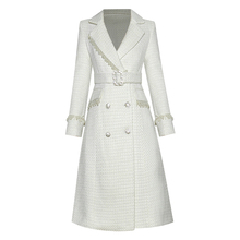 Designer Coat Tweed BELTED Buttons Winter Women's Pearl Long Beaded Diamonds High-Quality