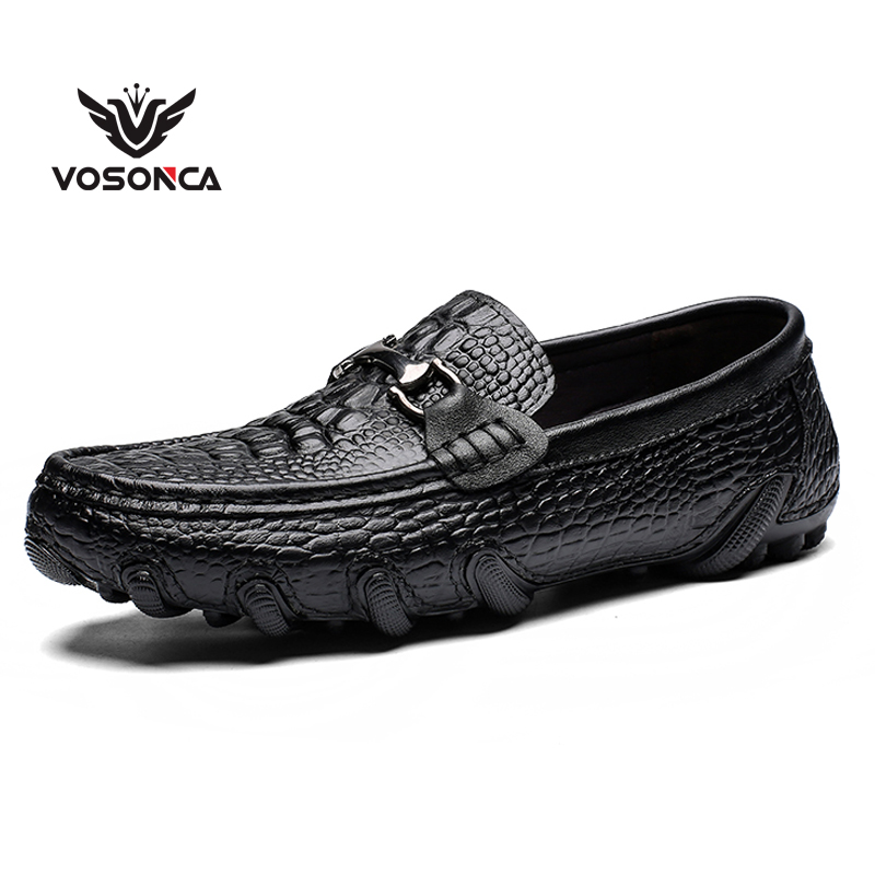 Vosonca 2019 New Men Casual Shoes Loafers High Quality Men Shoes Genuine Leather Shoes Men Flats Moccasins Shoes