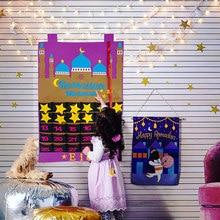 1 ensemble de calendrier de l'avent du Ramadan Mubarak, calendrier en feutre suspendu, compte à rebours pour enfants, cadeaux, décorations du Ramadan Eid 2021, fournitures de fête