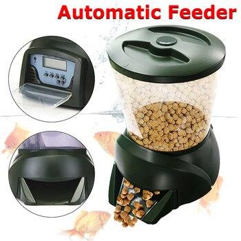 4.25L Automatic Fish Feeder Food Hopper LCD Display Digital Pond Fish Tank Aquarium ABS Feeder Detachable Free-standing Base