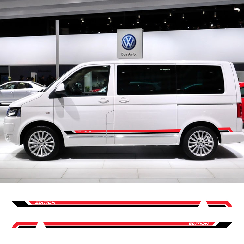 2Pcs Car Door Side Skirt Stickers For Volkswagen Multivan T5 T6 Auto Vinyl Film Decals Automobile Styling Car Tuning Accessories