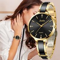 SUNKTA Womens Watch Ceramic Watch Women Simple Diamond Clock Casual Fashion Watch Sport Waterproof Wristwatch Relogio Feminino