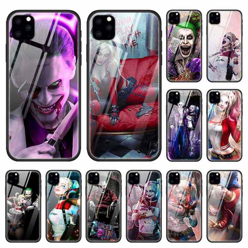Joker Harley Quinn Case for Apple iphone 11 Pro XR XS Max X 7 8 6 6S Plus Tempered Glass + Black Silicone Bags Phone Cover Coque