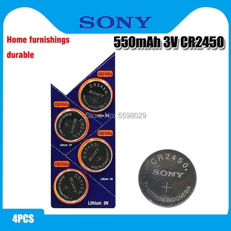 4pcs Original Sony CR2450 Button <font><b>Battery</b></font> 5029LC BR2450 BR2450-1W <font><b>CR2450N</b></font> ECR2450 DL2450 KCR2450 LM2450 For Watch Toy Remote image