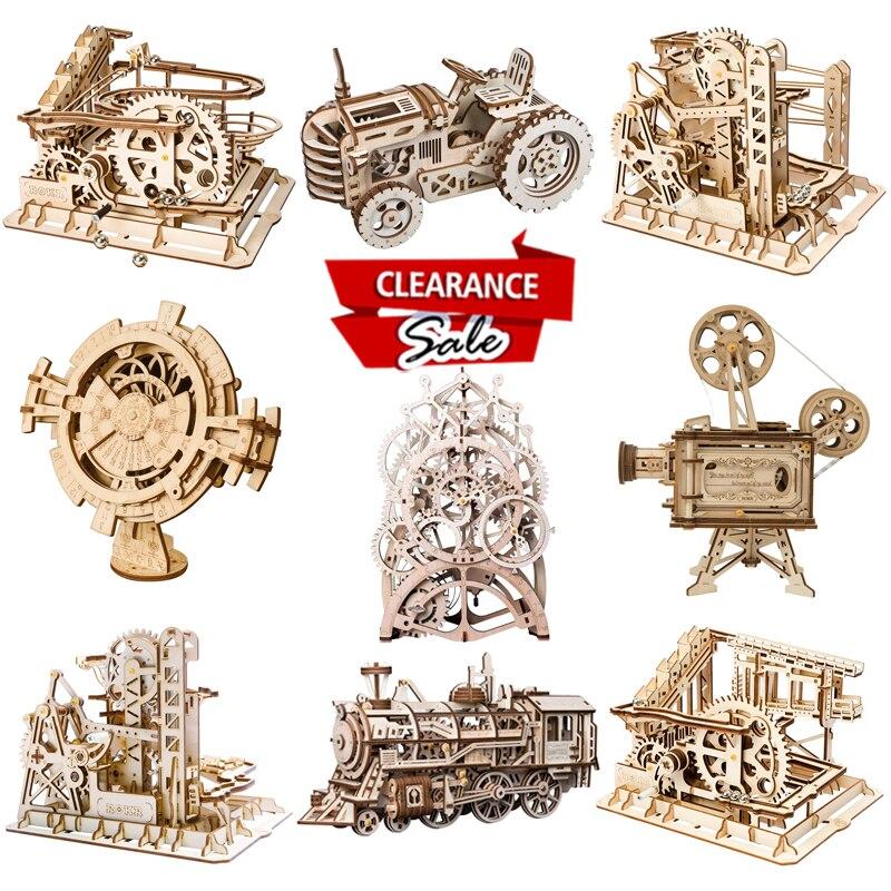 Механические шестерни с вечным календарем, деревянная модель поезда Robotime