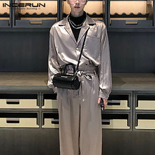 Men Jumpsuits Rompers Overalls Korean-Style Fashion Streetwear Loose Casual Lapel Lace-Up