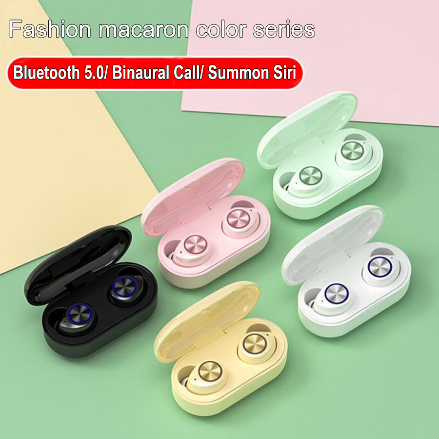 Macaron <font><b>TWS</b></font> <font><b>5.0</b></font> Bluetooth wireless earphone Touch Handsfree Stereo Wireless Bluetooth Headphone Earbuds With Mic Charging box image