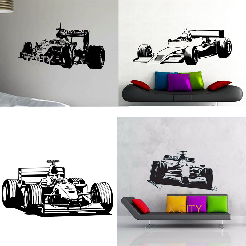 Sport Car Racing F1 Formula One WALL ART GRAPHIC STICKER DIE CUT VINYL DECAL HOME BEDROOM DECOR STENCIL MURAL