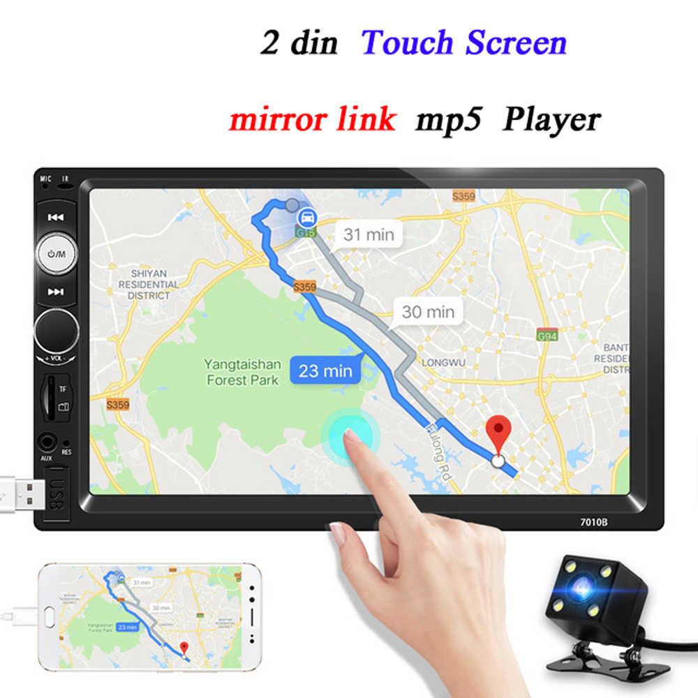 Auto Radio 2 Din Mobil Umum Model 7 ''LCD Touch Layar Bluetooth Mobil Radio Player Mobil Audio Kamera Belakang cermin Link 7010b
