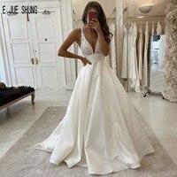 E JUE SHUNG Modern Wedding Dresses Deep V neck Backless With Top Appliques Boho Bridal dresses With Pockets robe de mariée