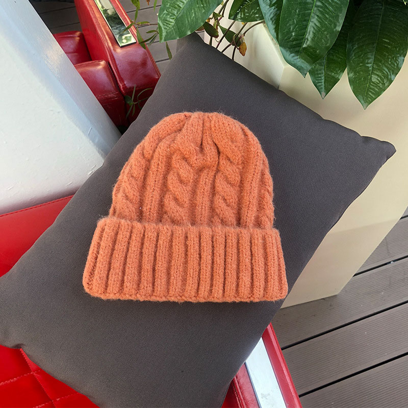 Women Beanies Girl Luxury winter hat Candy Colors Hats Thick Warm Bonnet Beanie Soft Knitted Beanies Cotton Twist Pattern Caps 9 5