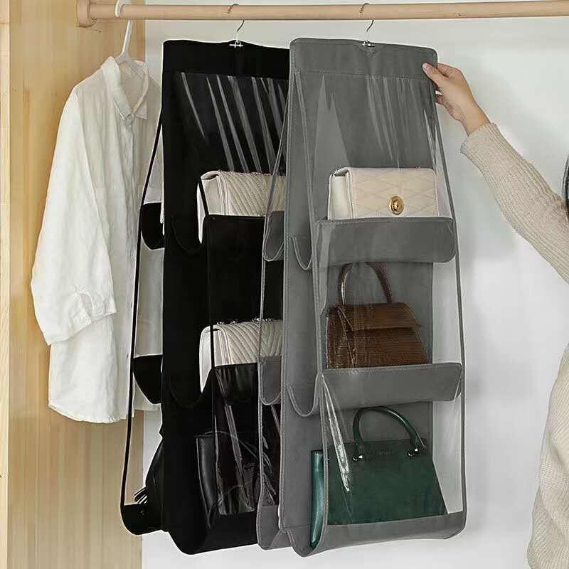6 Pocket Hanging Handbag Organizer For Wardrobe Closet Transparent Storage Bag Door Wall Clear Sundry Shoe Bag With Hanger Pouch