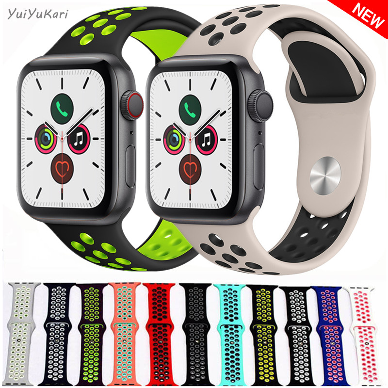 Silicone Pulseira For Apple Watch Band 4 (iwatch 5) 44mm 40mm Applewatch 3 2 1 Strap 42mm 38mm Wrist Bracelet Sports Accessories