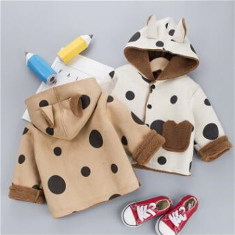 F Autumn Winter Ears Hooded Jacket for Newborn Baby Warm Coats Outerwear Childrens Boy Girls Polka Dot Clothes Jackets 0-3T