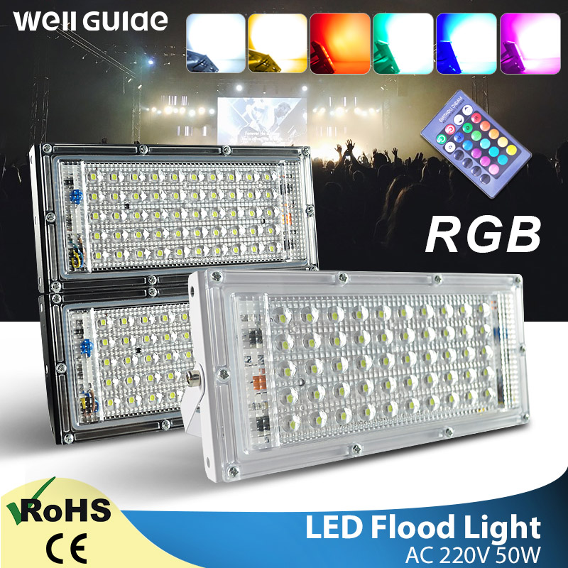 LED Flood Light 50W RGB Floodlight AC 220V 240V Remote Control Outdoor COB Chip LED Street Lamp Waterproof IP65 Outdoor Lighting