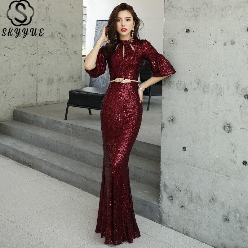 Skyyue Mermaid Dress Sequined O-Neck Floor-Length Half Sleeve Robe De Soiree K077 Plus Size Custom Color Women Party Dresses