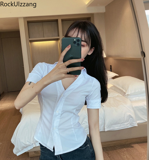 Fashion Simple Casual Solid White Turndown V-Neck Black Button Short Sleeve Elegant Office Blouse Women Plus Size Crop Top Shirt 5